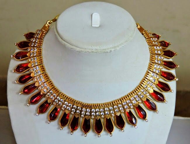 #Kerala#Traditional#Red#Nagapadam#SerpentHead#Necklace
