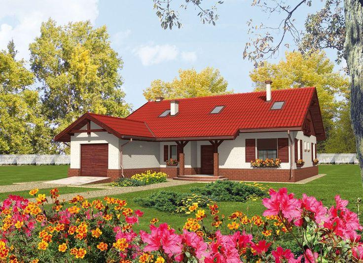 Proiecte de case mici pe un singur nivel - fatade bine conturate cromatic