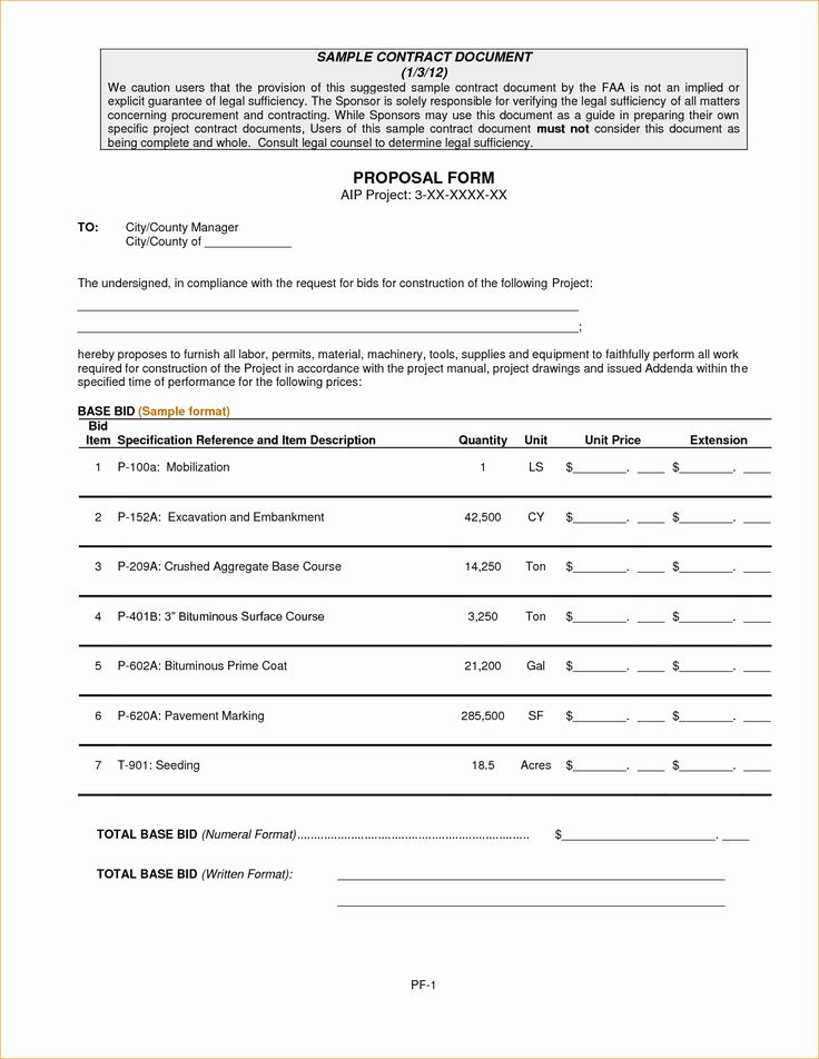 Contractor Proposal Template Word in 2020 Proposal