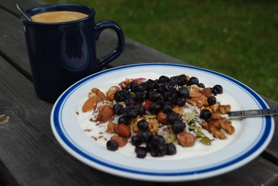 """A lot of people wonder what to have for breakfast when eating LCHF (Low Carb High Fat). How about something delicious and satisfying that only takes a minute to prepare? Here is my usual summer breakfast. Step 1  The foundation is high-fat """"Turkish yoghurt"""" (10% fat). It can be eaten as it is, but I prefer to add in some heavy whipping cream (40% fat).The extra fat is a nice bonus, the main reason is simply to make the consistency a bit looser, not quite as firm as the turkish yoghurt tends…"""