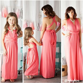 Mommy Flowing Coral Halter Dress - Ryleigh Rue Clothing by MVB