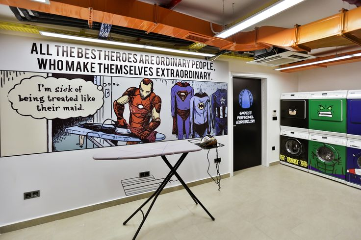 male dormitory laundry with superhero concept  #rendahelindesign #design  #decor #decoration #interior #interiordesign #konforist #dorm #male #laundry #room #marvel