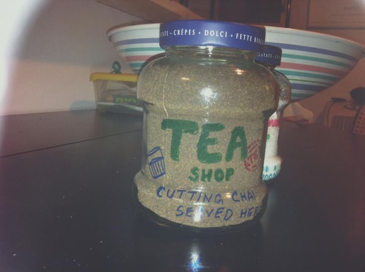 Tea Jar Vintage - recycled Jam bottle: