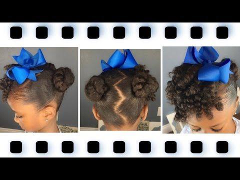 Mini Buns w/Curly Bang Tutorial   Kids Natural Hairstyle   IAMAWOG - YouTube