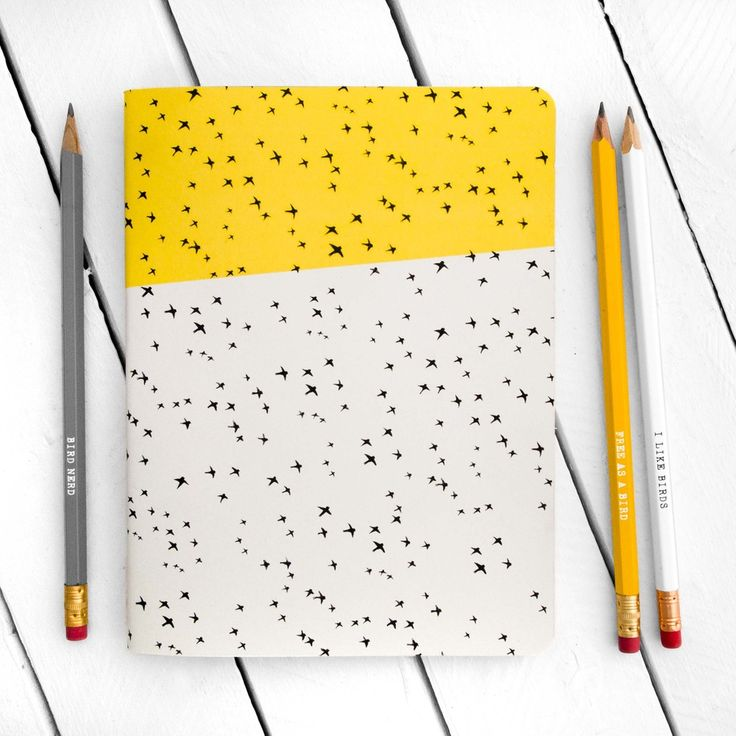 Flying Birds Pattern Yellow Notebook - Large - by The Paperbird Society.