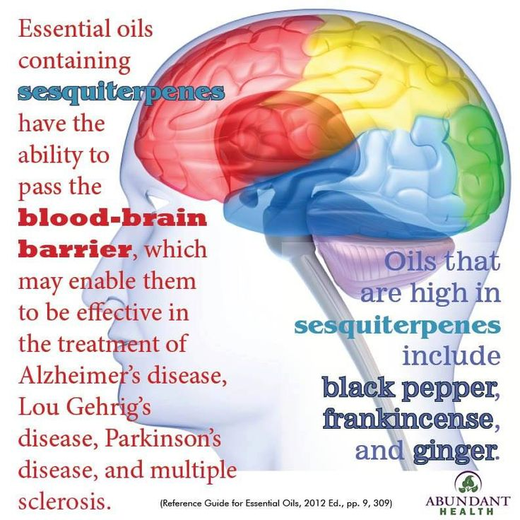 Essential oils containing sesquiterpenes have the ability to pass the blood-brain barrier, which may enable them to be effective in the treatment of Alzheimer's disease, Lou Gehrig's disease, Parkinson's disease, and multiple sclerosis. Oils that are high in sesquiterpenes include black pepper, frankincense, and ginger (Reference Guide for Essential Oils, 2012 Ed., pp. 9, 309) To Learn more about Young Living Essential Oils go to http://ylpure.com/abundance