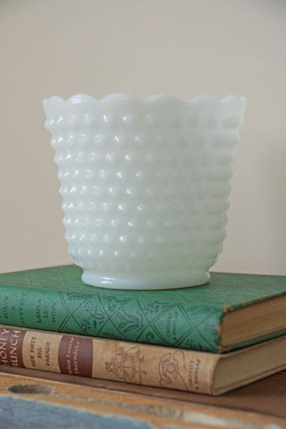 Hobnail Milk Glass Planter ♥ I believe different patterns of white milk glass planters were still being made into the 1970s. This one's pretty common to find at the flea market.