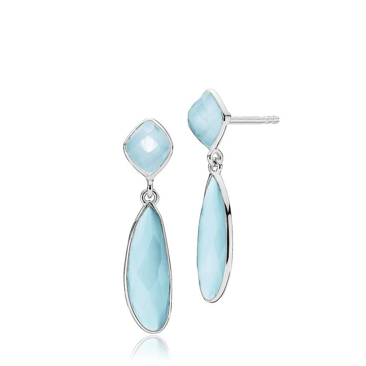 PRECIOUS earrings with beautiful skyblue chalcedonys. The earrings are made of shiny white sterling silver – Danish design jewelry by Izabel Camille. Price: EUR 105 No. A1412sws-blue CL   www.izabelcamille.com