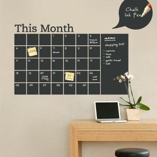 Simple Shapes - Chalkboard Calendar with Memo Wall Decal - Stay organized with the help of this chalkboard wall calendar. This calendar wall...