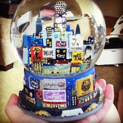 "Broadway snow globe. Gimme gimme. Tee hee.... ""Thoroughly Modern Millie"" reference."