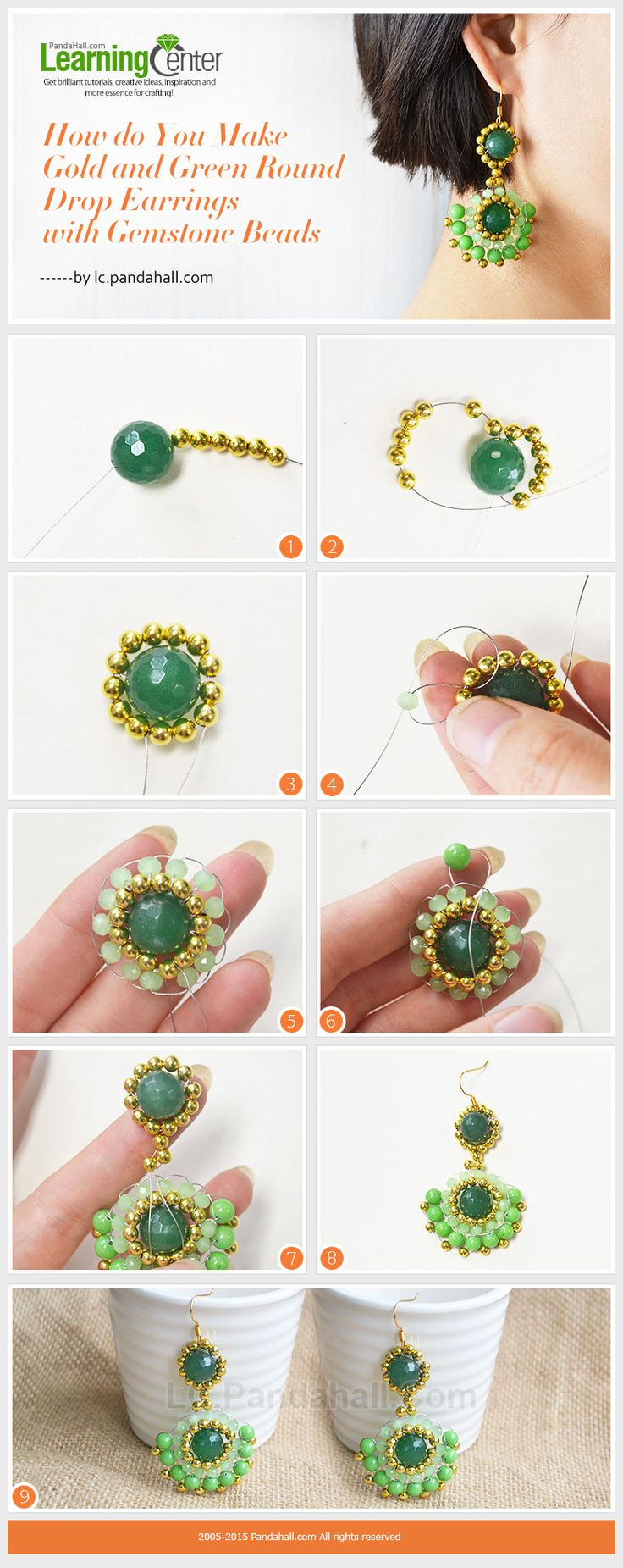 Gold and Green Round Drop Earrings