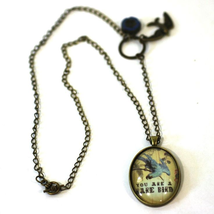 "You are a Rare Bird - Bird Pendant on Antique Bronze Chain - Simple Statement Necklace - 24"" Long - Papersonal - Clay Space"