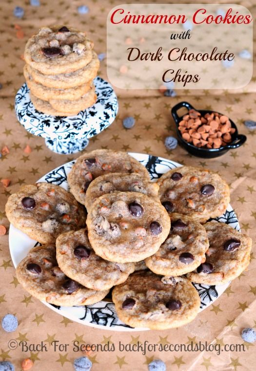 Chewy Cinnamon Cookies with Dark Chcolate Chips -  These cookies are AWESOME! Definitely going on my Christmas cookie trays this year!  @Brenda Cregger...