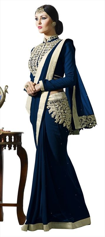 720225 Blue color family Embroidered Sarees, Party Wear Sarees in Faux Georgette fabric with Lace, Machine Embroidery, Mirror, Stone, Thread work with matching unstitched blouse.