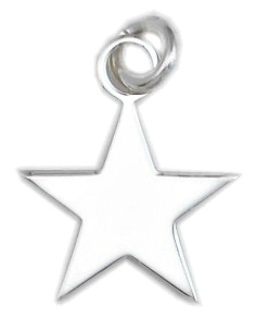 Sterling Silver 925 High Polish Star Charm Pendant Medium