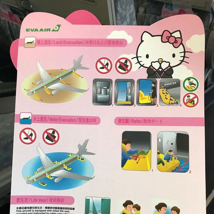 Ich bin mir nicht sicher ob ich die Sicherheitshinweise der Hello Kitty Airline ernst nehmen kann #Eva #evaairlines #bali #inseldergötter