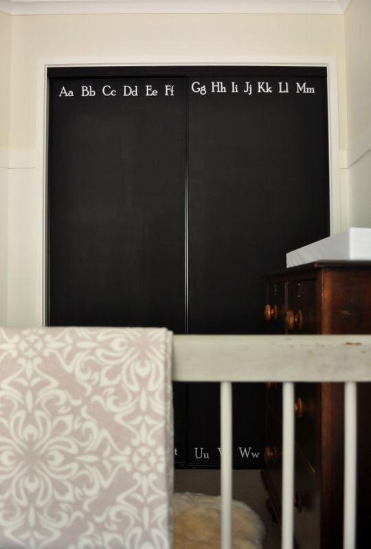 The Painted Hive: chalkboard closet doors with alphabet decals: Closet Doors, Paintings Closet, Chalkboards Paintings, Cute Ideas, Paintings Hives, Chalkboards Closet, Nurseries Reveal, Sliding Doors, Kids Rooms