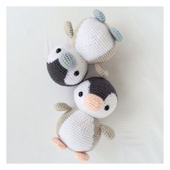 Crochet Penguin Stuffed Animal in Black White by YouHadMeAtCrochet. (Inspiration). - Crocheting Journal