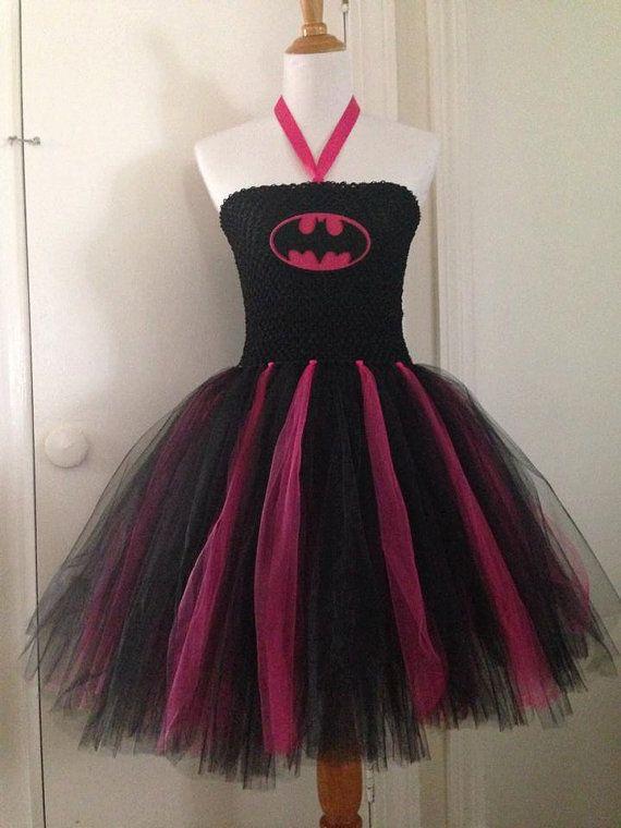 Hot Pink Batgirl superhero tutu costume dress set with mask on Etsy, $24.00