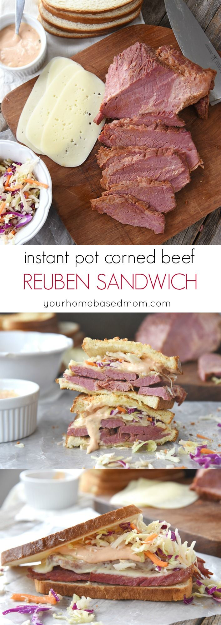 Instant Pot Corned Beef Reuben Sandwiches Recipe - perfect for St. Patrick's Day or any time! (Sandwich Recipes)