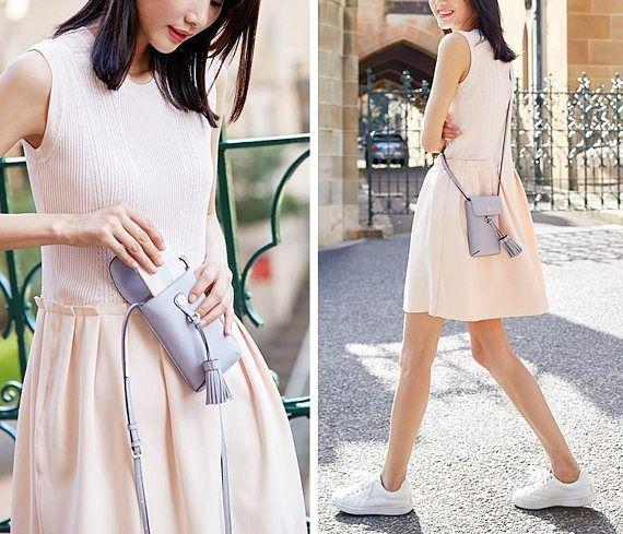 8 Colors Genuine Leather Tassel Phone Bag Vintage Women
