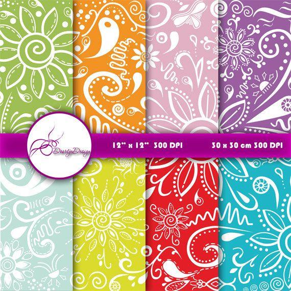 Floral Digital papers Zentangle, Floral scrapbook papers, background, Floral Digital Paper, Instant download #501