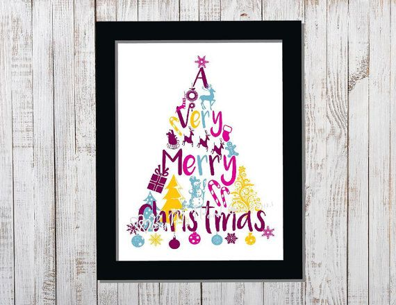 Christmas Tree Word Art Christmas Decoration by ByMyWordCreations