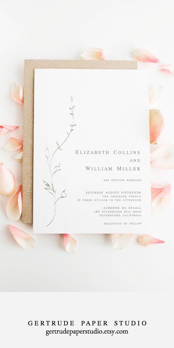Fine Art Wedding Invitation Instant Download Minimalist