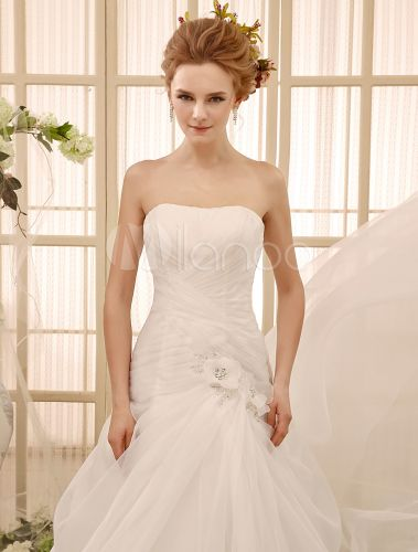 dress for sample photos Beading Chapel Train Ivory Bridal Wedding Gown with A-line Strapless Neck - Milanoo.com