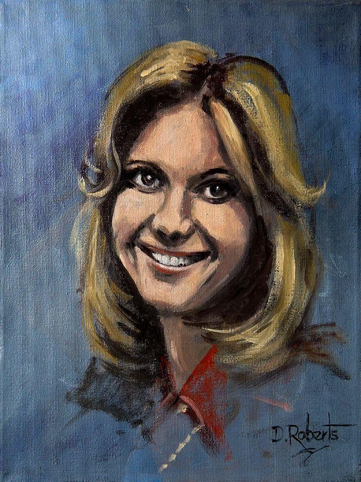 Acrylic sketch of a young Olivia Newton John