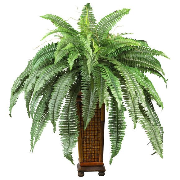 Boston Fern w/ Decorative Wood Vase Silk Plant | Nearly Natural | An abundance of lavishly designed fronds cover the spines of this exotic Boston fern. Dream of a vacation in the tropics as you gaze at this beautifully tailored creation. Bright green leaves sprouting forth inspire a look that's both eclectic yet attractive. A full 33 inches tall, this plant will make a bold statement in your office or home décor. A stylish wood vase adds a touch of Asian appeal to this highly popular fern.