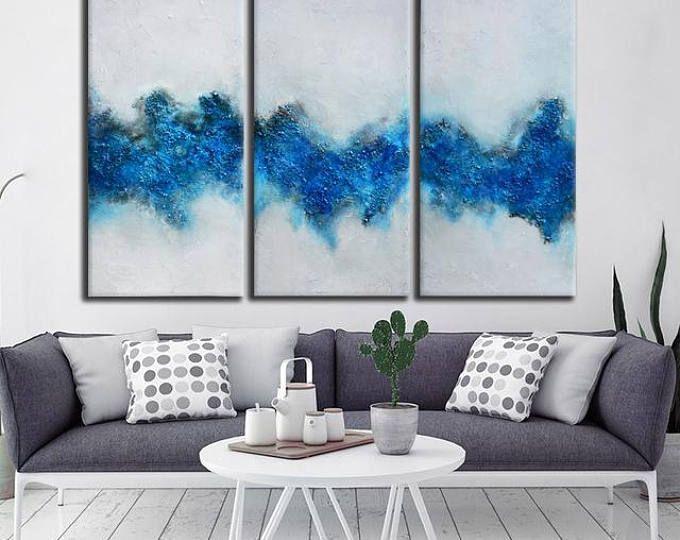 Gran pintura blanca azul, Original de arte abstracto azul, gran lienzo arte Arte Contemporáneo, pintura azul gris, arte de vestíbulo de la oficina