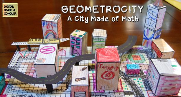 In-class math projects are a great way to show real-world application and understanding. In Geometrocity students create/build a city and while using geometry skills. $