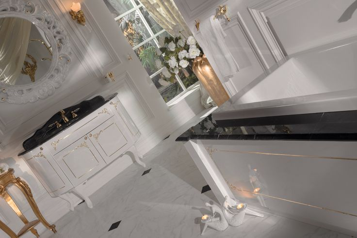Topex Armadi Art Bello white pearl and gold vanity from our Classic Collection!