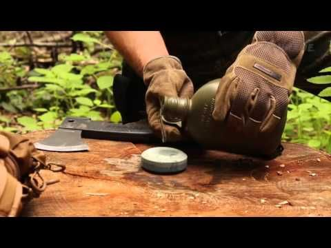Field Sharpen an Axe or Hatchet with a Puck Sharpening Stone - YouTube