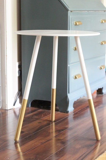 One of those cheapy plywood tables: DIY dipped side table, white with gold