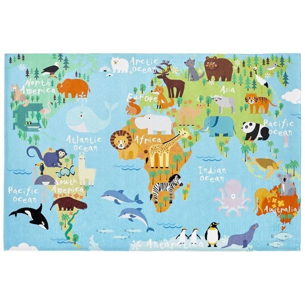 Edson Woven Blue Rug Map Rug World Map Rug Kids World Map