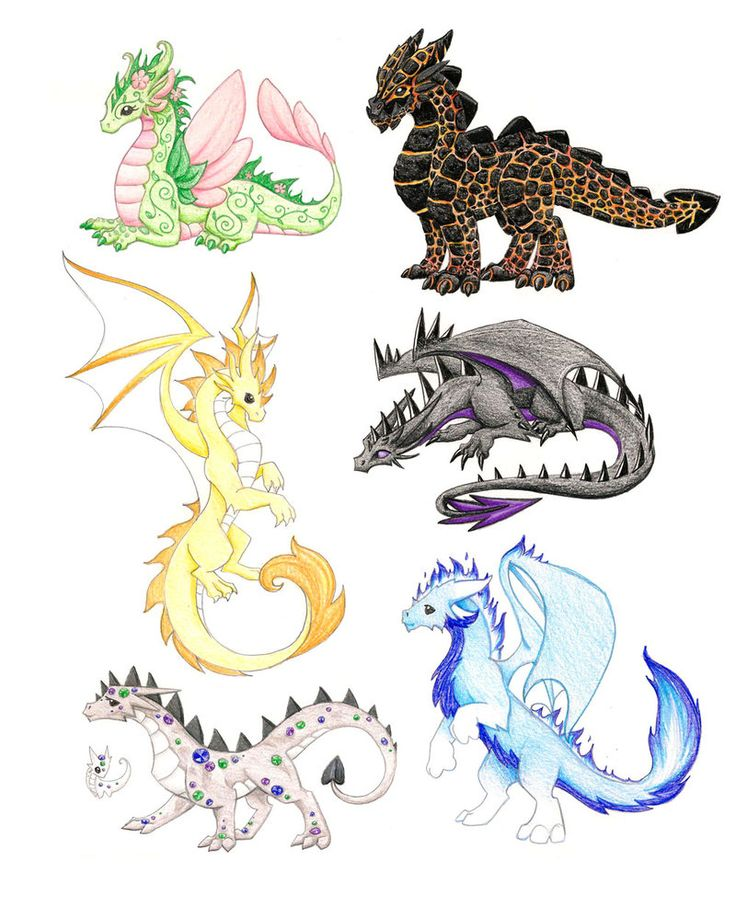 Dragon Drawings: Elemental Concepts 2 By DragonsAndBeasties