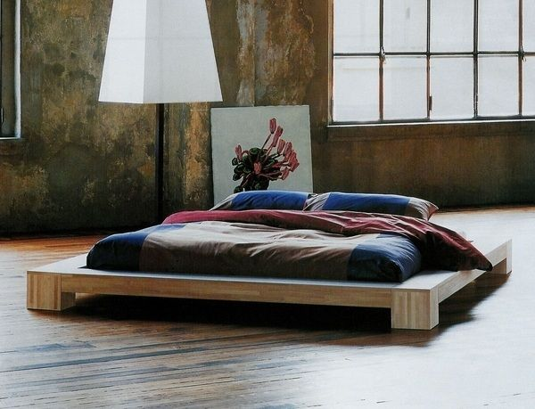 futon bed design wooden frame mattress modern furniture japanese style bedroom interior