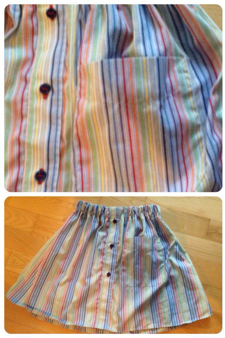Nederdel fra skjorte, har genbrugt og flyttet lommen.