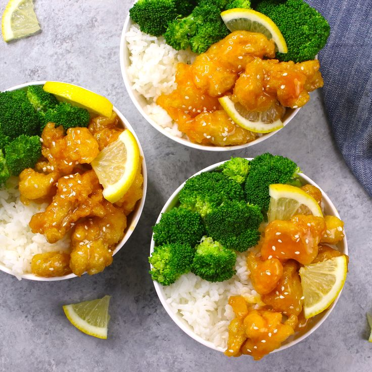 Easy, crispy and most unbelievably delicious Lemon Chicken with Rice Bowls. So m…