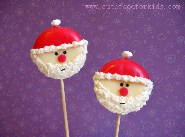 起司做的聖誕老公公  Last time I turned babybel cheeses into ladybugs ; this time I turnedthesebabybel cheeses into Santas. Ho ho ho....            ...