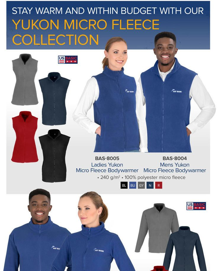 Best Branding for Bodywarmer - US Basic Yukon Micro Fleece Collection.  If you're looking to stay warm without breaking the bank, choose our US Basic Yukon Micro Fleece Collection. Available in 5 fabulous colours, the prices of both the bodywarmer and jacket include a one-position embroidery. BAS-8005Ladies Yukon Micro Fleece Bodywarmer BAS-8004Mens Yukon Micro Fleece Bodywarmer BAS-8000Mens Yukon Micro Fleece Jacket BAS-8001Ladies Yukon Micro Fleece Jacket • Left/Right Sleeve: artwork…