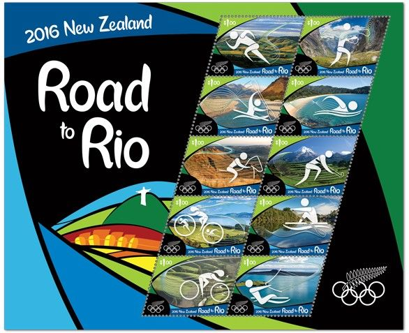 2016 Road to Rio – NEW ZEALAND  New Zealand stunning stamp issue consists of ten $1 stamps – representing the ten events that New Zealand has previously won gold medals.