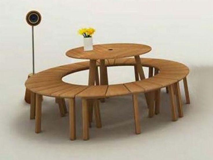 Round wooden garden table TIE 90 Tiera Collection by Deesawat Industries Co.
