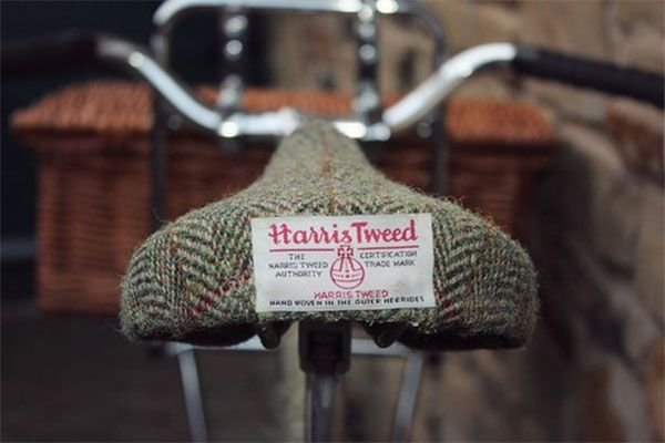 Recovered bike seat from old tweed blazer