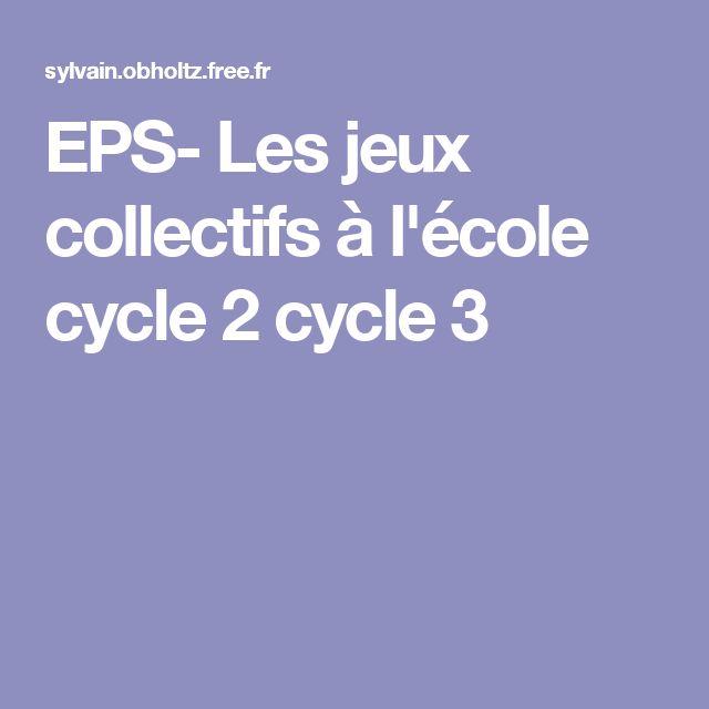 EPS- Les jeux collectifs à l'école cycle 2 cycle 3