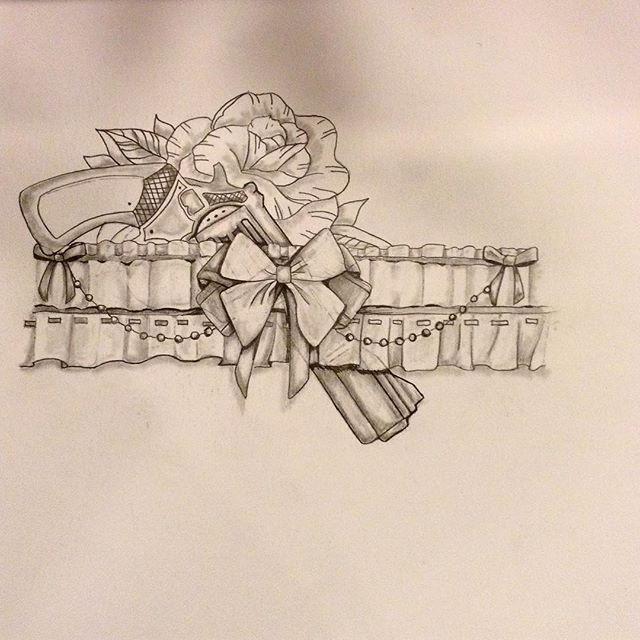 Gun in the girdle sketch by our artist @that_dude_pac is up for grabs. Perfect for a thigh tat. 👀