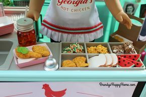 Find out where to buy and how to recreate American Girl Tenney Grant's Tennessee Hot Chicken Dinner. Learn to DIY doll sized bread and pickles with clay.