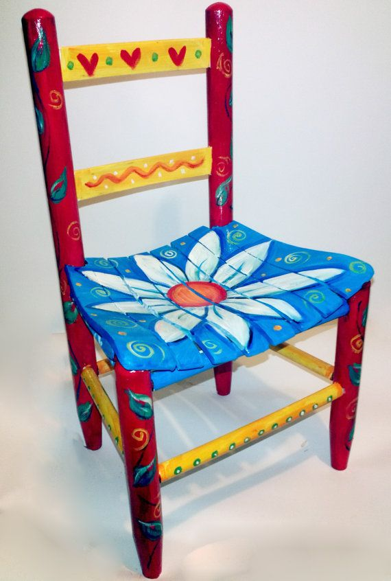 Children's Red and Blue Flower Chair by RockinThePaint on Etsy